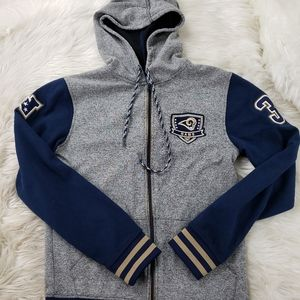 Los Angeles Rams Gray Hoodie Zip Up Jacket SZ Sm